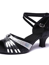Недорогие -Жен. Обувь для латины Дерматин На каблуках Каблуки на заказ Персонализируемая Танцевальная обувь Серебряный / Черный и золотой / Черный