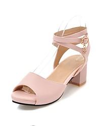 baratos -Mulheres Sapatos Courino Verão Plataforma Básica Sandálias Salto Robusto Peep Toe Preto / Bege / Rosa claro / Sandálias de calcanhar