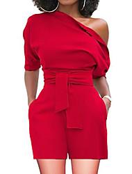 abordables -Femme Quotidien / Sortie Basique / Sophistiqué Une Epaule Rouge Jaune Vin Ample Mince Barboteuse, Couleur Pleine L XL XXL Taille haute Manches Courtes Eté