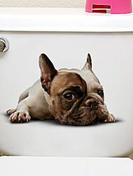 Недорогие -Наклейки на холодильник Наклейки для туалета - Наклейки для животных Животные 3D Гостиная Спальня Ванная комната Кухня Столовая Кабинет /