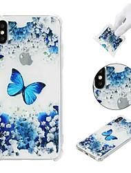 Недорогие -Кейс для Назначение Apple iPhone X / iPhone 8 Plus / iPhone XS Защита от удара / Прозрачный / С узором Кейс на заднюю панель Бабочка / Цветы Мягкий ТПУ для iPhone XS / iPhone XR / iPhone XS Max