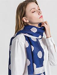 abordables -Mujer Volante Rectángulo - Vintage / Fiesta A Lunares / Estampado Azul y Blanco