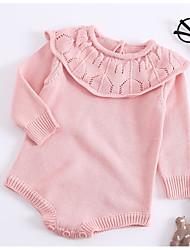Недорогие -малыш Девочки Классический Повседневные Однотонный Трикотаж Длинный рукав Хлопок Bodysuit Розовый