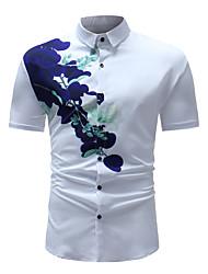 olcso -Alap / Boho Férfi Ing - Egyszínű / Virágos, Nyomtatott Fehér XL