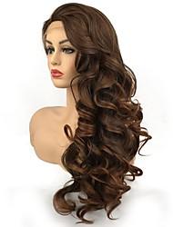 billige -Syntetisk Lace Front Parykker Krøllet Mellemdel syntetisk Mørkebrun Dame Blonde Front Celebrity Paryk / Naturlig paryk Lang Syntetisk hår