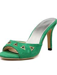 baratos -Mulheres Sapatos Pele Nobuck Verão Chanel Sandálias Salto Agulha Peep Toe Tachas para Festas & Noite Amarelo / Vermelho / Verde