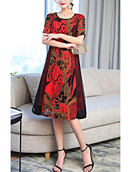 Недорогие -Жен. Большие размеры Праздники Свободный силуэт А-силуэт Платье - Контрастных цветов Средней длины