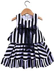 abordables -Enfants / Bébé Fille Noir & Blanc Rayé Sans Manches Robe