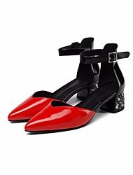 preiswerte -Damen Schuhe Leder Nappaleder Frühling Sommer Pumps Komfort High Heels Blockabsatz für Normal Rot Marron