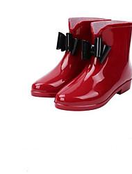 Недорогие -Жен. Обувь КожаПВХ Весна лето Резиновые сапоги Ботинки На плоской подошве Сапоги до середины икры Пурпурный / Розовый и белый / Хаки
