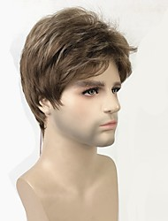 cheap -Toupees Matte Pixie Cut Synthetic Hair 100% kanekalon hair Brown Wig Men's Short Capless / Yes