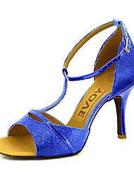 cheap -Women's Latin Shoes / Salsa Shoes Sparkling Glitter / Leatherette Sandal / Heel Buckle / Ribbon Tie Customized Heel Customizable Dance Shoes Red / Blue / Golden / Performance / Professional