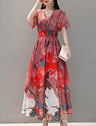 cheap -Women's Going out Slim Swing Dress - Floral High Waist Maxi V Neck