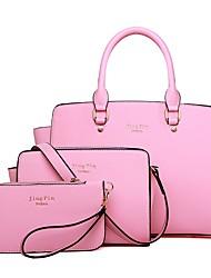 baratos -Mulheres Bolsas PU Conjuntos de saco 3 Pcs Purse Set Ziper Rosa / Roxo / Fúcsia