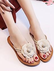 cheap -Women's Shoes PU(Polyurethane) Summer Comfort Slippers & Flip-Flops Flat Heel White / Black / Pink