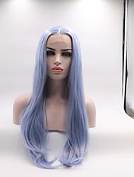 abordables -Peluca Lace Front Sintéticas Recto Corte a capas Pelo sintético Rizador y enderezador Azul Peluca Mujer Longitud Media Encaje Frontal / Sí