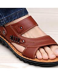 baratos -Homens sapatos Pele Verão Conforto Sandálias Castanho Claro / Castanho Escuro / Pele