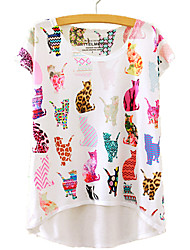cheap -Women's Daily / Going out Cotton / Polyester Loose T-shirt - Animal / Summer