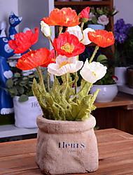abordables -Flores Artificiales 1 Rama Elegante Amapola Flor de Mesa