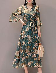 Недорогие -Жен. С летящей юбкой Платье - Цветочный принт Макси