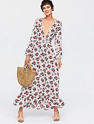preiswerte -Damen Boho Seide Swing Kleid Blumen Maxi V-Ausschnitt Hohe Hüfthöhe