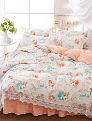 cheap -Duvet Cover Sets Floral / Geometric Polyster Jacquard 4 Piece / 4pcs (1 Duvet Cover, 1 Flat Sheet, 2 Shams)