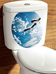 abordables -Autocollants muraux décoratifs Autocollants toilettes - Autocollants muraux animaux Paysage 3D Salle de séjour Chambre à coucher Salle de