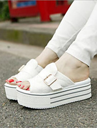 cheap -Women's Shoes Canvas Summer Comfort Slippers & Flip-Flops Creepers White / Gray