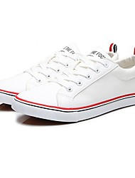 Недорогие -Жен. Обувь Синтетика Осень Удобная обувь Кеды На плоской подошве Белый / Черный / Красный / Полоски