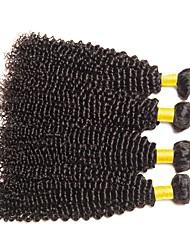 baratos -4 pacotes Cabelo Brasileiro Encaracolado Cabelo Humano Cabelo Humano Ondulado / Extensões de Cabelo Natural Tramas de cabelo humano Melhor qualidade / Venda imperdível / Para Mulheres Negras Côr