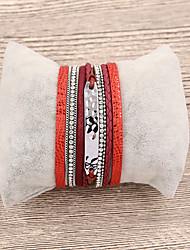 baratos -Pulseiras de couro - Europeu, Fashion Pulseiras Vermelho / Rosa claro Para Presente / Diário