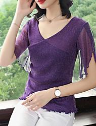 baratos -Mulheres Camiseta - Feriado Vintage / Básico Sólido Decote V Delgado