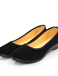 baratos -Mulheres Sapatos Flanelado Primavera / Verão Mocassim Mocassins e Slip-Ons Salto Baixo Ponta Redonda Preto