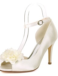 cheap -Women's Shoes Satin Spring & Summer Basic Pump Wedding Shoes Stiletto Heel Peep Toe Satin Flower Red / Champagne / Ivory