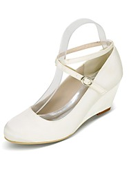 cheap -Women's Shoes Satin Spring & Summer Basic Pump Wedding Shoes Wedge Heel Round Toe Buckle Blue / Champagne / Ivory / Party & Evening