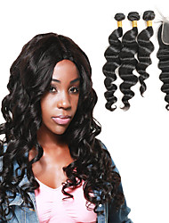 cheap -Peruvian Hair Loose Wave Hair Weft with Closure 3 Bundles With  Closure 10-30inch Human Hair Weaves Hot Sale Black Women's