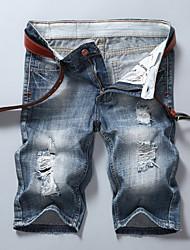 cheap -Men's Cotton Jeans / Shorts Pants - Solid Colored Hole