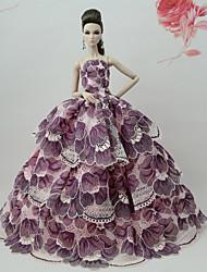 Недорогие -Платья Платье Для Кукла Барби Розовый Кружево / Шелково-шерстяная ткань Платье Для Девичий игрушки куклы