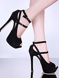 preiswerte -Damen Schuhe Beflockung Sommer Pumps High Heels Stöckelabsatz Peep Toe Schwarz / Rosa