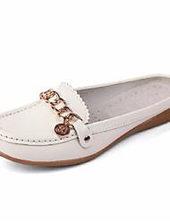 お買い得  -女性用 靴 レザー 夏 コンフォートシューズ 下駄とミュール フラットヒール のために オフィス&キャリア / アウトドア ホワイト / オレンジ / イエロー