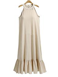 baratos -Mulheres Básico / Moda de Rua Reto Vestido Sólido Longo
