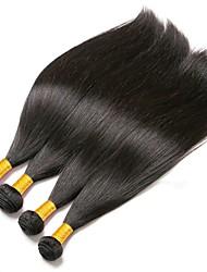 Недорогие -4 Связки Бразильские волосы Прямой 8A Натуральные волосы Необработанные натуральные волосы Удлинитель Пучок волос One Pack Solution 8-28 дюймовый Нейтральный Естественный цвет Ткет человеческих волос