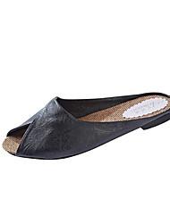 Недорогие -Жен. Обувь Дерматин Лето Удобная обувь Тапочки и Шлепанцы На плоской подошве Открытый мыс Золотой / Белый / Черный
