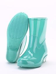 Недорогие -Жен. ПВХ Наступила зима Резиновые сапоги Ботинки На низком каблуке Круглый носок Сапоги до середины икры Зеленый / Синий / Розовый