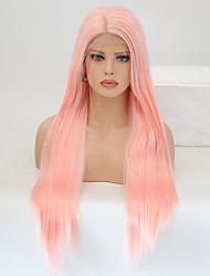 economico -Parrucche Lace Front Sintetiche Liscio Taglio scalato Capelli sintetici Resistente al calore Rosa Parrucca Per donna Lungo Lace frontale / Sì