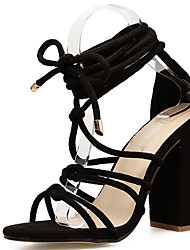 preiswerte -Damen Schuhe Pelz Sommer Herbst Pumps Komfort Sandalen Blockabsatz für Normal Party & Festivität Schwarz Gelb