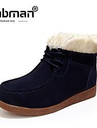 abordables -Mujer Zapatos Piel de Oveja Invierno Botas de nieve Botas Tacón Plano Azul Oscuro / Amarillo / Borgoña