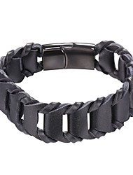 Недорогие -Муж. Плетение Кожаные браслеты - Нержавеющая сталь, Кожа Простой, Мода Браслеты Черный / Коричневый Назначение Повседневные