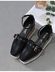 preiswerte -Damen Schuhe PU Frühling Pumps Sandalen Keilabsatz für Normal Schwarz Mandelfarben