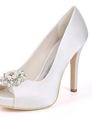 cheap -Women's Shoes Satin Spring Basic Pump Wedding Shoes Stiletto Heel Peep Toe Rhinestone / Imitation Pearl Red / Champagne / Ivory